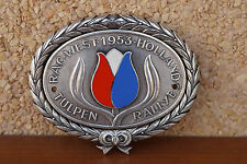 VINTAGE RALLY CAR BADGE TULIP  - TULPEN RALLYE RAC WEST HOLLAND 1953