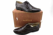 MATISSE Ducky Brown Patent Leather Wingtip Slip on Oxfords Flats Shoes 9.5 New