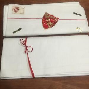 NEW Toile des VOSGES Off White Heavy 100% Cotton Twin Sheet Pair Set Vintage BB2