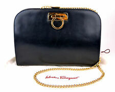 AUTHENTIC SALVATORE FERRAGAMO GANCINI DARK NAY LEATHER GOLD CHAIN SOULDER BAG