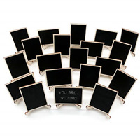 20 Pack Wood Mini Chalkboards Signs Support Easels Place Cards Small Rectangle