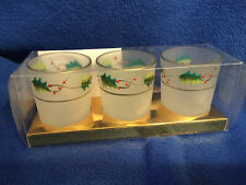 Set of 3 Frosted Christmas Holly Berry Votive Candle Holders Gold Trim Nib