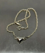 """925 Sterling Silver 9.5"""" Rope Chain Anklet Heart Italy Signed CA"""