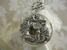 "New  ""Alice in Wonderland"" Large Silver Tone Unique Pocket Watch Necklace Gift"