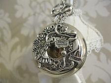 """NUOVO """"Alice nel paese delle meraviglie"""" GRANDE tono argento unico Orologio da Tasca Collana Regalo"""