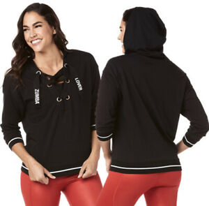 Zumba NWT Lover Laced Up Pullover Hoodie Marvelous Black Size M White Trim