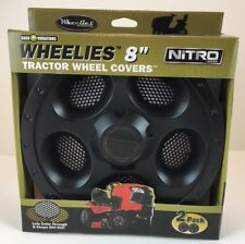 "Wheelies Lawn Garden Tractor BLACK Wheel Covers Hub Caps for 8"" Tires GV288"
