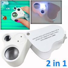 30X 60X Jewellery Magnifier Jewellers Eye Magnifying Glass LED Light Lens Loupe