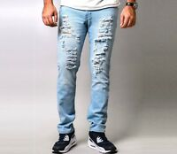 Mens Denim Casual Destroyed Frayed Slim Skinny Fit DISTRESSED RIPPED JEANS Blue