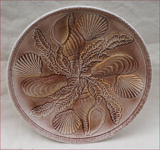 Vintage French Oyster Plate Faience Shell Seaweed Revernay 1960