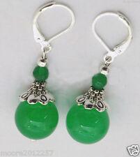 Fashion beautiful Tibet silver green jade gemstone bead Dangle Earrings AAA