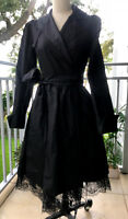 Diane Von Furstenberg Black Silk Taffeta and Lace Wrap Dress size 4