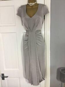 Stunning No 1 By Jenny Packham Silver Grey Drape Front Dress Size 12 Uk