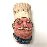 Bossons Chalkware Head Figurine 1969 Chef Congleton England Wall Mask Head Plaqu