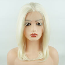 Meiyite Hair Straight Short 12in Light Blonde Realistic Synthetic Lace Front Wig