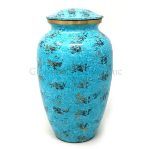 Beautiful Large Water Blue Brass Urn For Human Cremation Ashes
