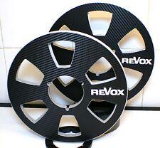 """2 x REVOX REEL TO REEL CARBON FIBER LOOK 6 WINDOW 10.5"""" X 1/4"""" NAB HUBS"""