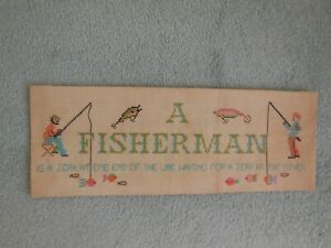 FISHING FISH wall hanging tapestry sampler embroidered and cross stitched