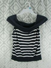 American Living Top Size L Blue and White Striped Cowl Neck Sleeveless Casual