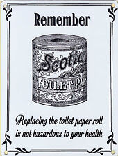 New 15x20cm Replace The Toilet Paper roll Scotia retro small metal wall sign