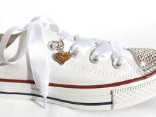 ORO Completo di cristallo cuore i lacci delle scarpe lacci fascino ideale su nastro di raso bianca lacci