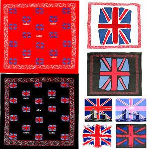 GB UK Flags of Union Jack London Bridge print BANDANAs Neck Wrap Head Band Event