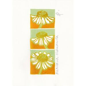 Original signed two-block linocut print 'Camomile' on paper