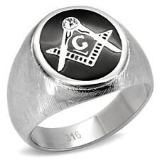 Stainless Steel Mason Master Masonic Lodge Crystal Men's Oval Black Ring