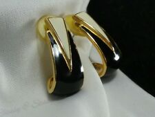 Vintage Gold Nina Ricci Black Cream Enamel Post Retro Earrings