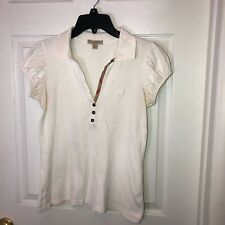 BURBERRY Brit Women's  Short Puff Sleeve Polo Shirt M white