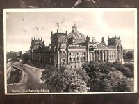 1938 Berlin Germany RPPC Postcard Cover To Sao Paulo Brazil reichstag building