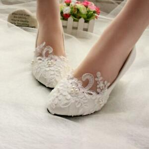 White Lace Pearl Wedding shoes Bridal bridesmades flats Heels Flowers Shoes