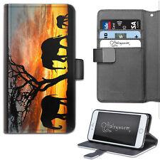 Three Elephant Silhouette Sunset PU Leather Wallet Phone Case, Flip Case