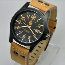 SOKI Military Light Brown with Black Dial Date Time Quartz Leather Band Watch