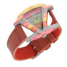 Fashion Triangle Colorful Bamboo wood Case Quartz Watch leather band gift box