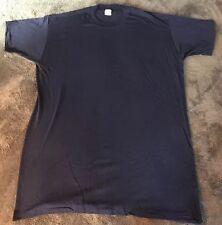 New VTG Hugger Navy Blue Blank T Shirt USA Made 80's 100% Cotton XXL rare Size
