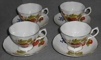 Set (4) Fine China ROYALE GARDEN Cups/Saucers FRUIT PATTERN Made in England