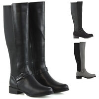 Womens Flat Low Heel Knee High Ladies Zip Buckle Stretch Leg Calf Boots Size 3-8