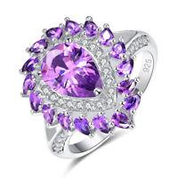 Gorgeous Huge Fashion Amethyst & White Topaz Gemstone 925 Silver Ring Size LNPR