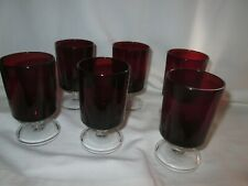 Set of 6 Ruby red coloured Glasses - small 9cms