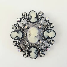 Vintage Style Brooch Pin Gift Br1214A New Heart Crystal Black Cameo Love Crystal