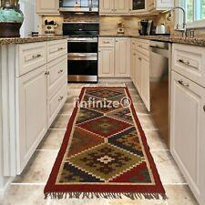 2.5x8' Vintage Floor Runner Wool Jute Area Rug Handwoven Dhurrie Floor Carpet