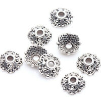 100Pcs Tibet Silver Flower Loose Spacer Bead Cap Jewelry Making Craft 8x3mm DIY