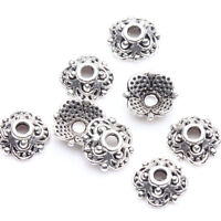 100Pcs Tibet Silver Flower Loose Spacer Bead Cap Jewelry Making Decor 8x3mm DIY