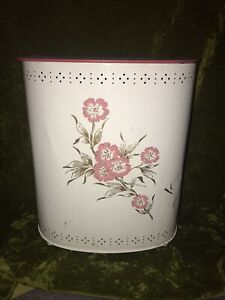 Vintage 1960s Mid Century Metal Floral White/Pink Clothes Laundry Hamper