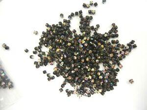 100 vintage swarovski 4-hole rose montees,16ss crystal AB,black matte