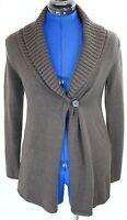 NY & Co Brown Sweater Cardigan Knit Blazer Long Sleeve Open Jacket Coat Womens S