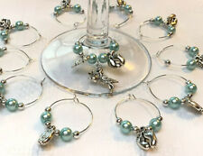 50+1 Baby Shower Wine Glass Charms 2022 Christening Reveal Keepsake Favours Blue