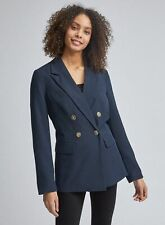 Dorothy Perkins Womens Blue Double Breasted Blazer Jacket Buttons Top Outerwear