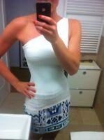 NEU H&M One Shoulder Top Shirt Damentop Asymmetrisch Stretch Weiß S/36 38